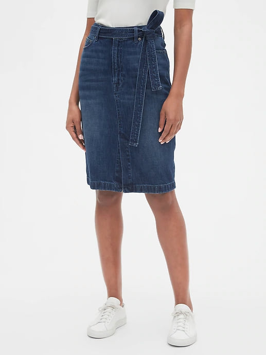 Woman wearing the High Rise Denim Pencil Skirt with Tie-Belt from Gap