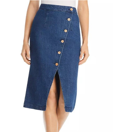 Woman wearing the Vero Moda Julie Asymmetric Button-Front Midi Skirt from Bloomingdale's