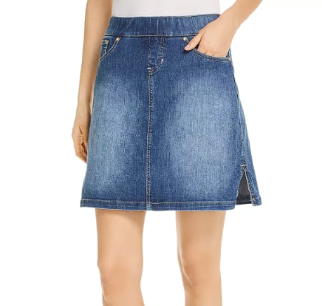 Woman wearing the Jag Jeans on-the-go Denim Skort from Bloomingdale's