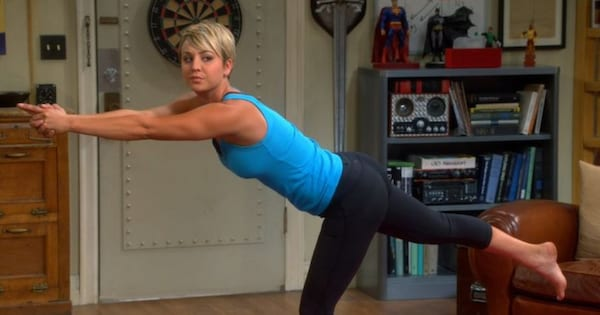 Kaley Cuoco doing yoga in a scene from 'The Big Bang Theory'