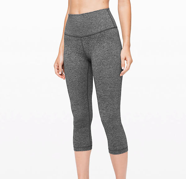 Woman wearing the Wunder Under Crop yoga pants from Lululemon
