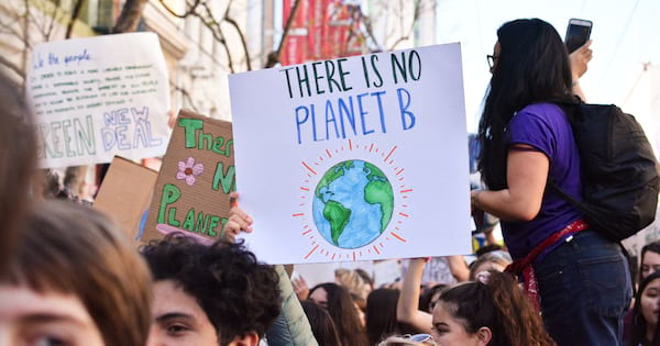 Person holding a 'there is no planet b' poster at a climate strike