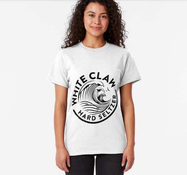 Woman wearing a White Claw T-shirt from Redbubble