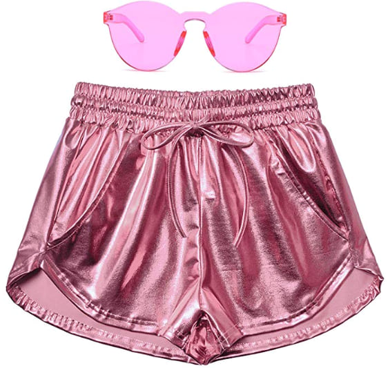 Perfashion Women's Metallic Shorts in pink with pink neon glasses from Amazon
