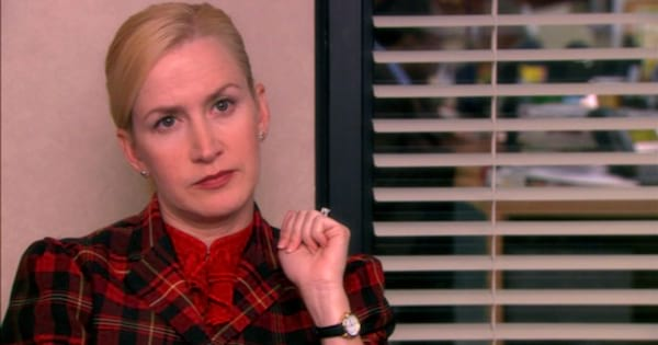 Angela looking upset at the camera for an interview in 'The Office'