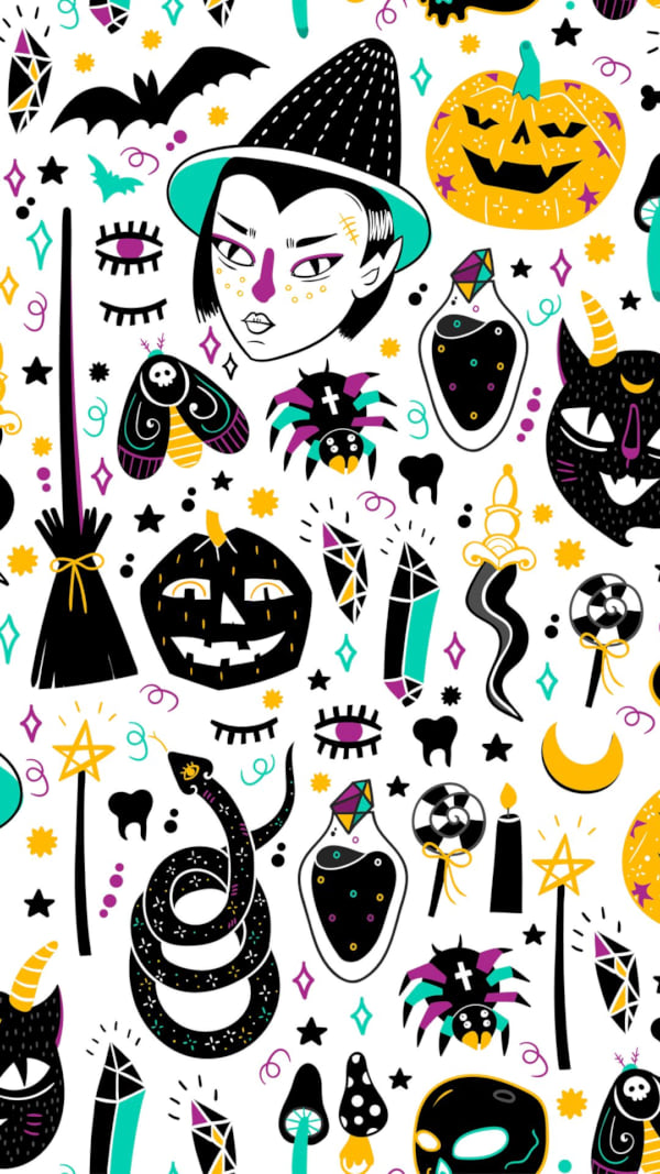 Magic Halloween objects. Hand drawn colored vector seamless pattern - Vector