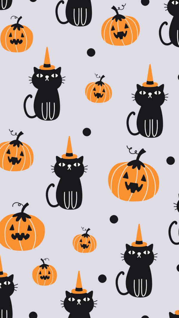Vector seamless pattern for Halloween with cat and pumpkin. - Vector