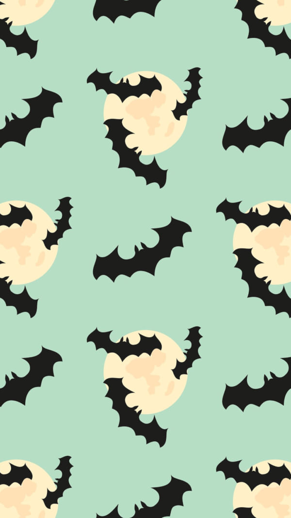 Seamless pattern with bat, moon. Halloween background - Vector