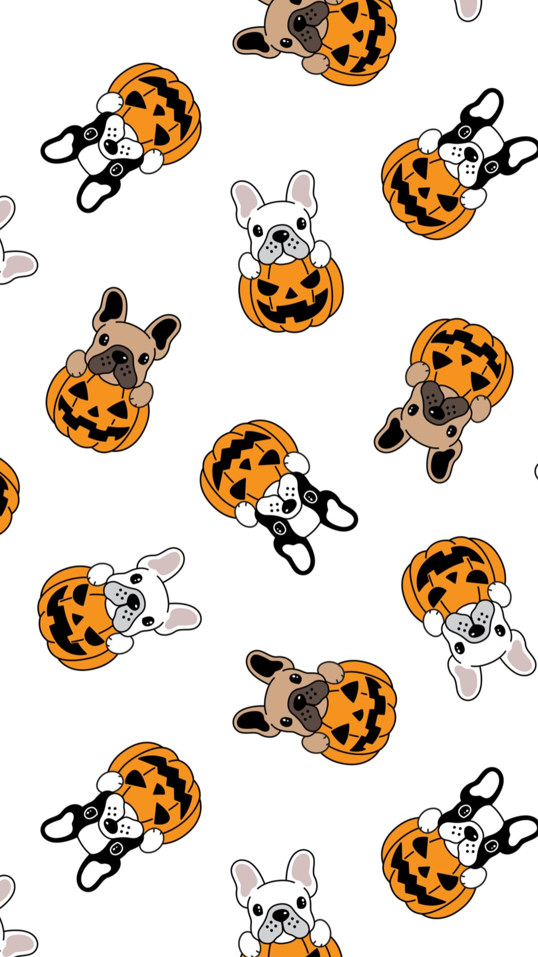 dog seamless pattern vector french bulldog pumpkin Halloween cartoon scarf cartoon isolated repeat wallpaper tile background illustration - Vector