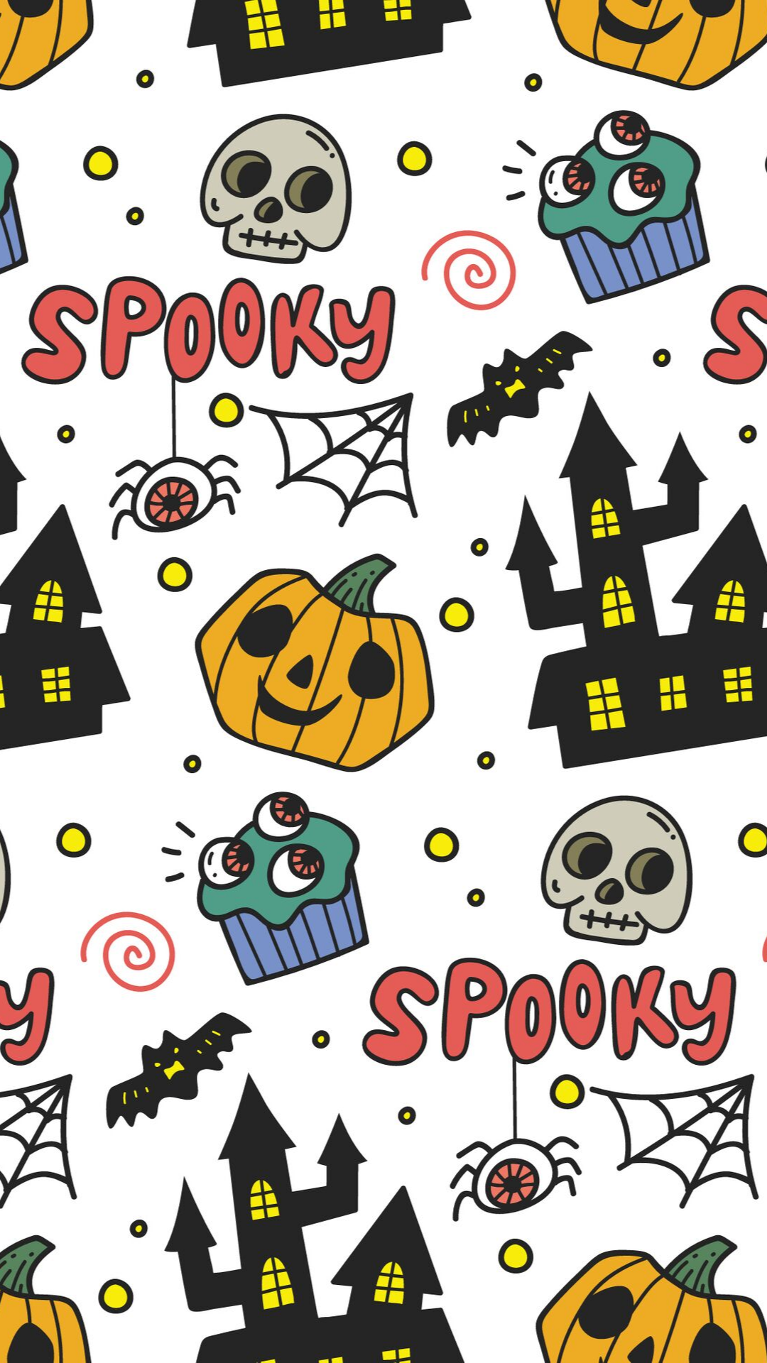 Halloween seamless pattern with halloween cartoon characters - Vector