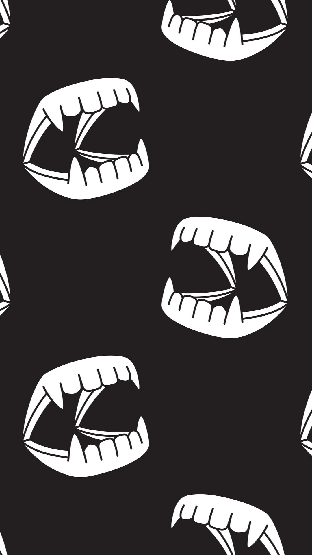 Halloween Ghost Dracula teeth evil Devil monster illustration seamless pattern icon wallpaper background - Vector