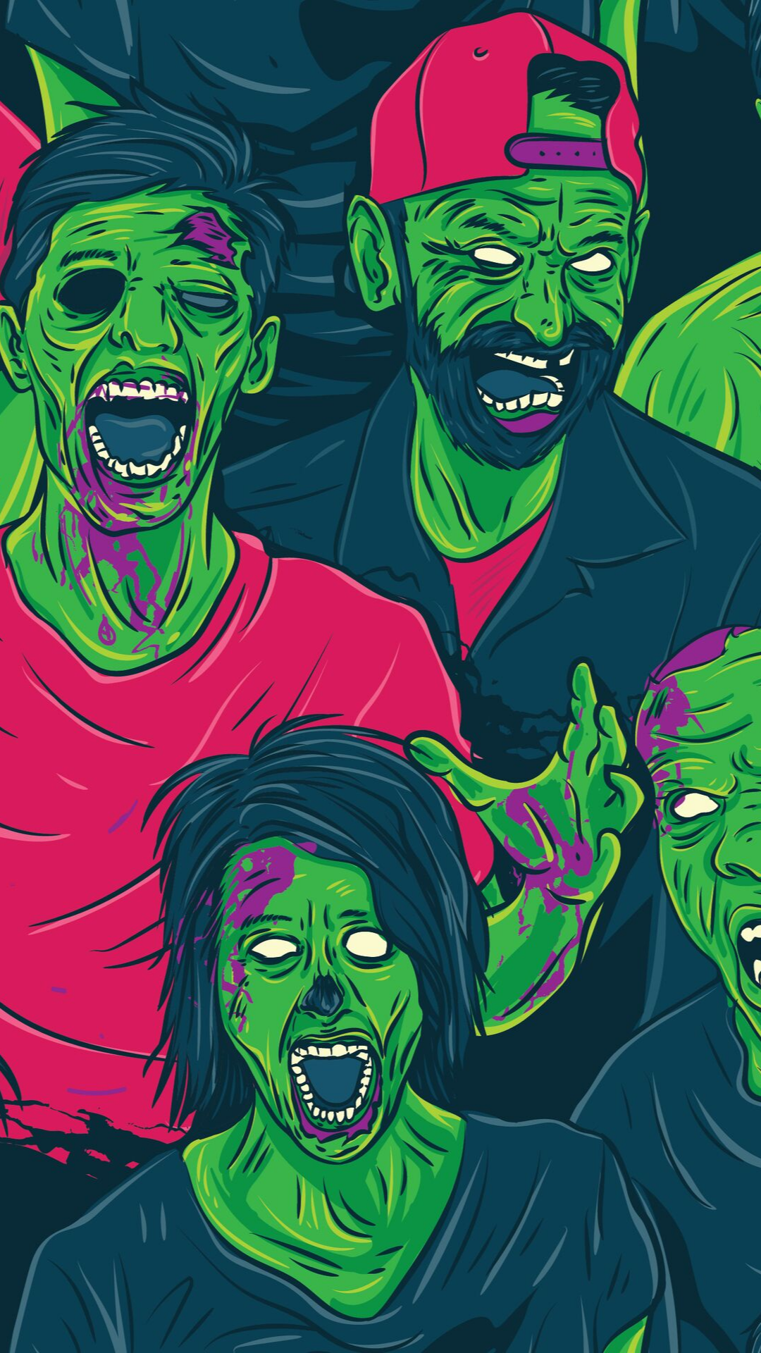 Zombie Walking Out Seamless Pattern. Background Wallpaper - Vector