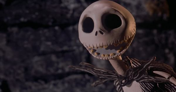 Jack Skellington with a smile on his face in 'The Nightmare Before Christmas'