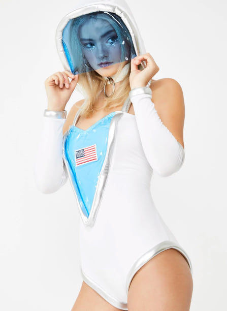 Woman wearing the Astronaughty Costume Set from Dolls Kill