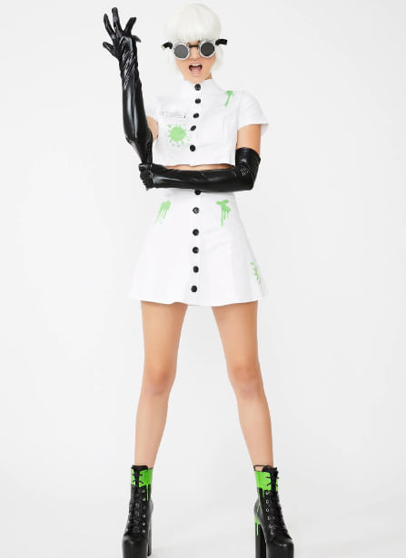 Woman wearing the Slut for Science Costume Set from Dolls Kill