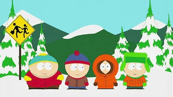 Cartoon characters from Comedy Central, Cartman, Kenny, Stan, and Kyle in South Park with snowy terrain