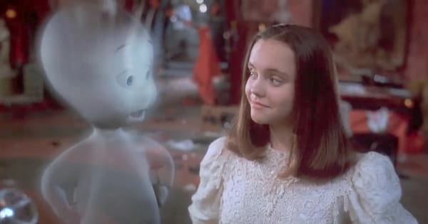 Casper and Kat smiling at each other at the end of 'Casper'