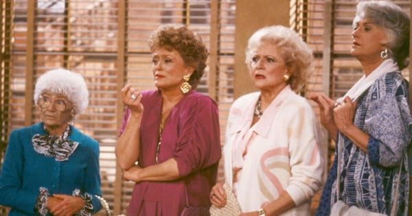 dorothy, rose, Blanche, and Sophie all standing around in an apartment in 'The Golden Girls'