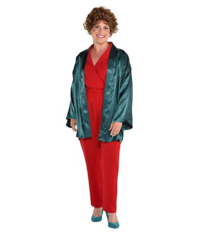 Woman wearing the Adult Blanche Deveraux Romper from Party City