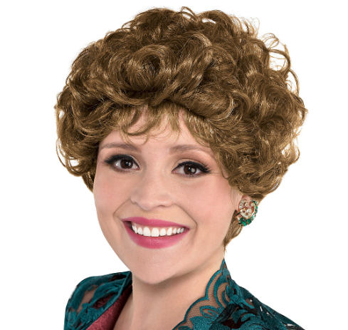 Woman wearing the Sassy Senior Wig from Party City