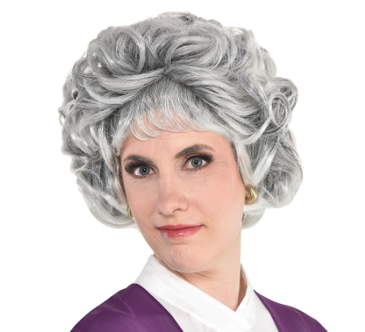 Woman wearing the Sarcastic Senior Wig from Party City