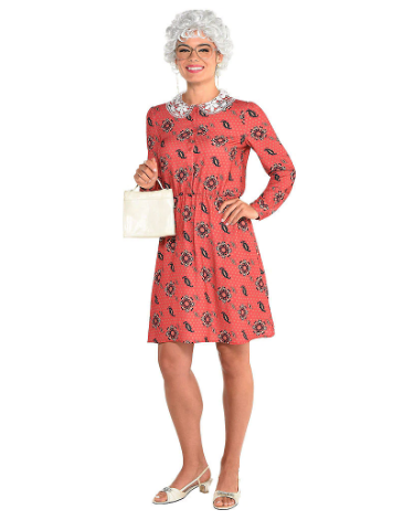 woman wearing the Adult Sophia Petrillo Dress from Party City