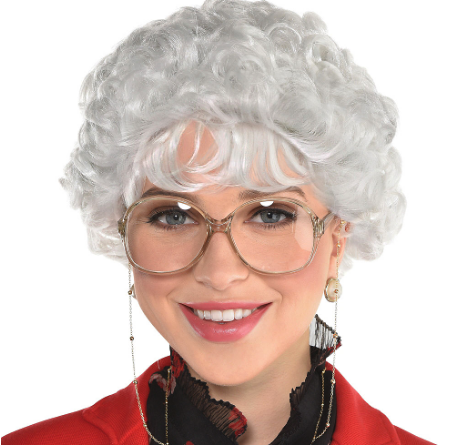 Woman wearing the Witty Senior Wig from Party City