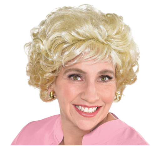 Woman wearing the Midwest Senior Wig from Party City