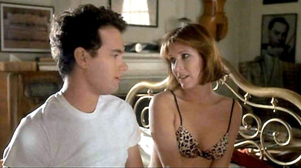 carrie fisher, tom hanks, 1985, the man with the one red shoe, movies