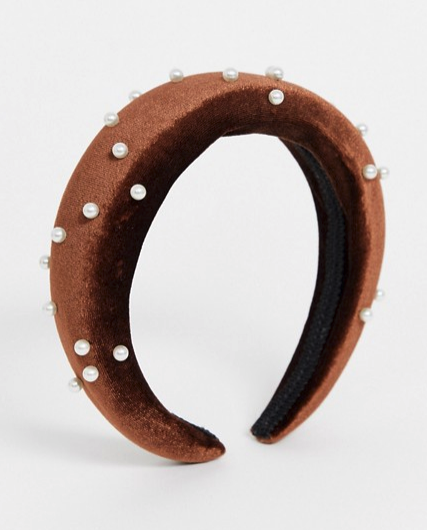 Pieces velvet and pearl headband in brown from ASOS