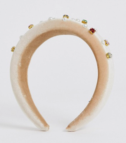 My Accessories London beige pearl and embellished gem headband from ASOS