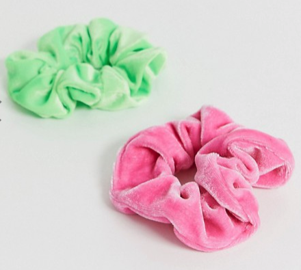 ASOS DESIGN pack of 2 scrunchies in neon green and candy pink velvet