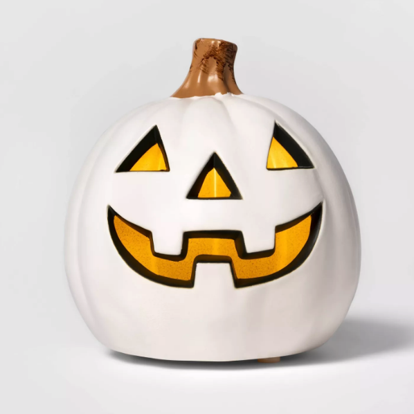5\ Lit Three Teeth Pumpkin Decorative Halloween Prop White - Hyde & EEK! Boutique™ from Target