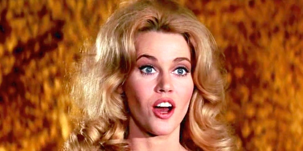 A young Jane Fonda looking shocked in Barbarella