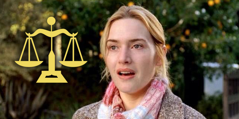 Kate Winselt wearing a scarf looking pleasantly surprised in 'The Holiday' with an icon of scales, representing the zodiac sign Libra