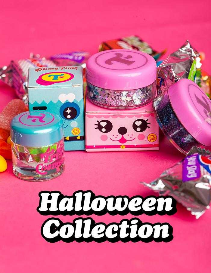 Trixie Cosmetics Halloween Collection surrounded by fun size candy