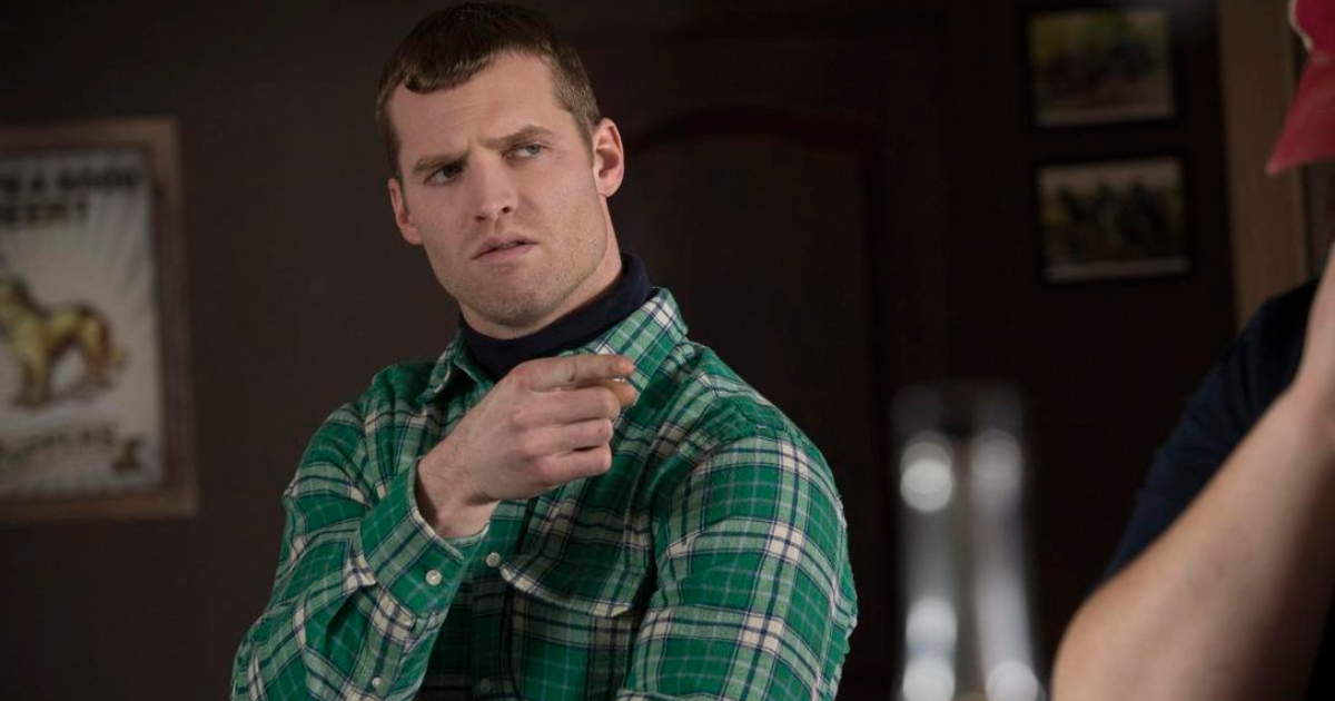 Wayne talking to someone at the bar in 'Letterkenny'