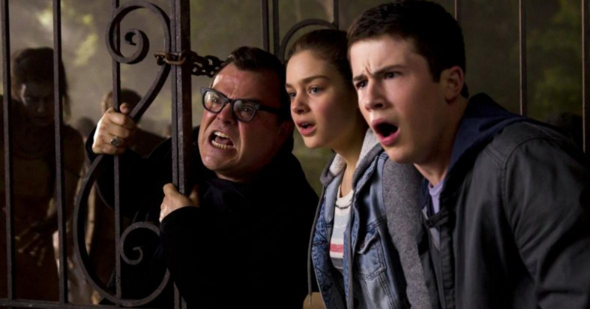jack black, Dylan Minnette, and Odeya Rush in the live-action 'Goosebumps' movie