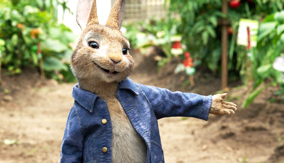 An animated rabbit from children's movie, Peter Rabbit wearing a blue button down pointing to carrots
