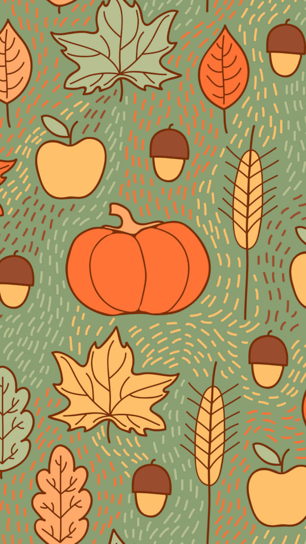 Seamless pattern with pumpkins, leaves, wheat and apples. Beautiful background for Thanksgiving. - Vector