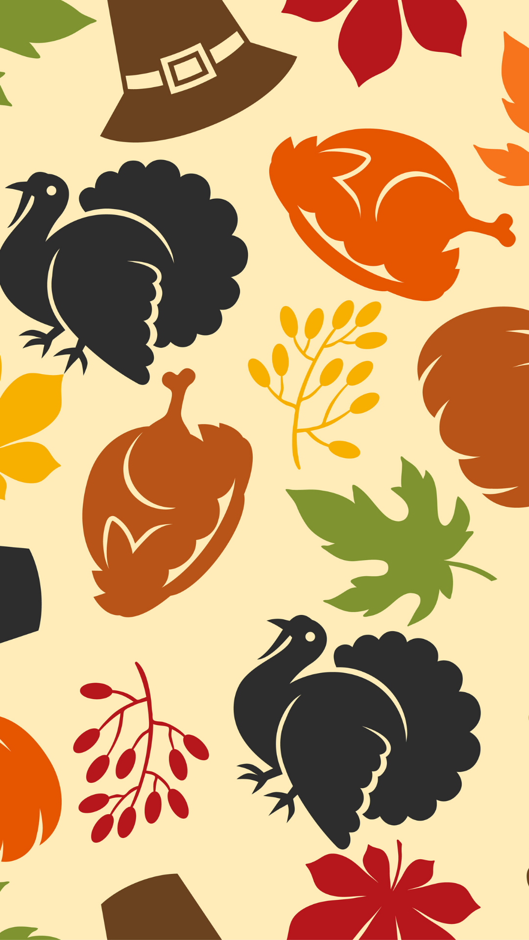 Happy Thanksgiving Day seamless pattern with holiday objects. - Vector