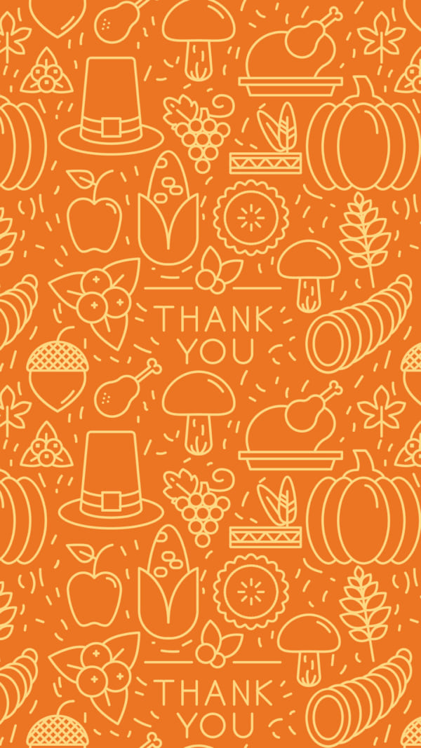 Thanksgiving elements on orange background. Seamless pattern for wallpaper, web sites, wrapping paper, for fashion prints, Fabric, design. - Vector