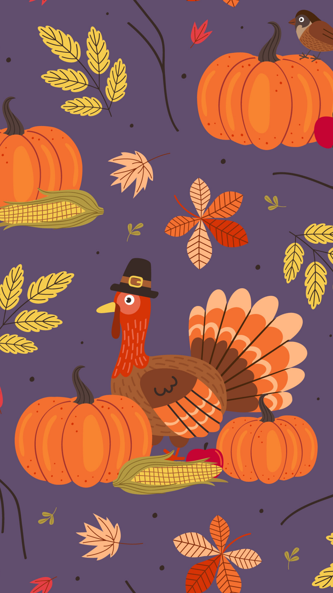 seamless pattern with Thanksgiving day elements - vector illustration, eps - Vector