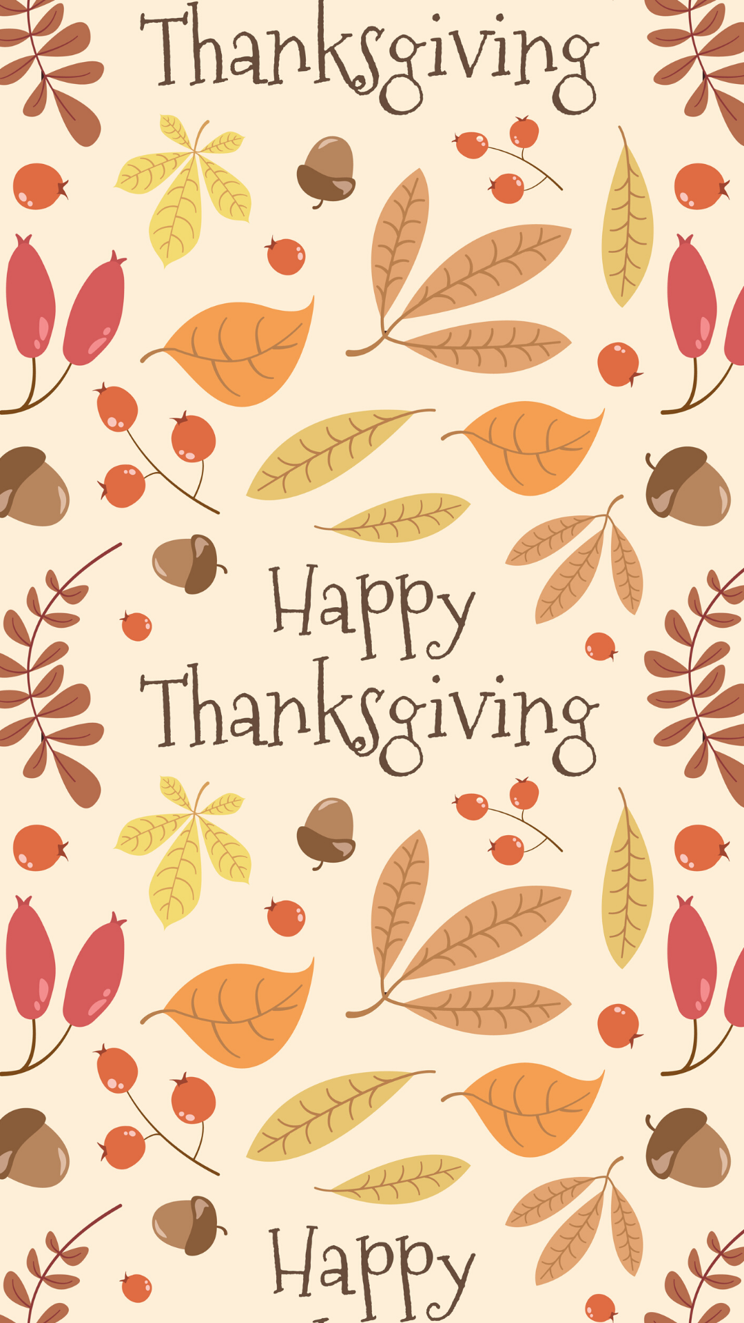 Vector seamless Thanksgiving pattern; autumn leaves, berries and acorns; lettering \Happy Thanksgiving\. Holiday design for greeting card, gift box, wallpaper, wrapping paper, web design. - Vector