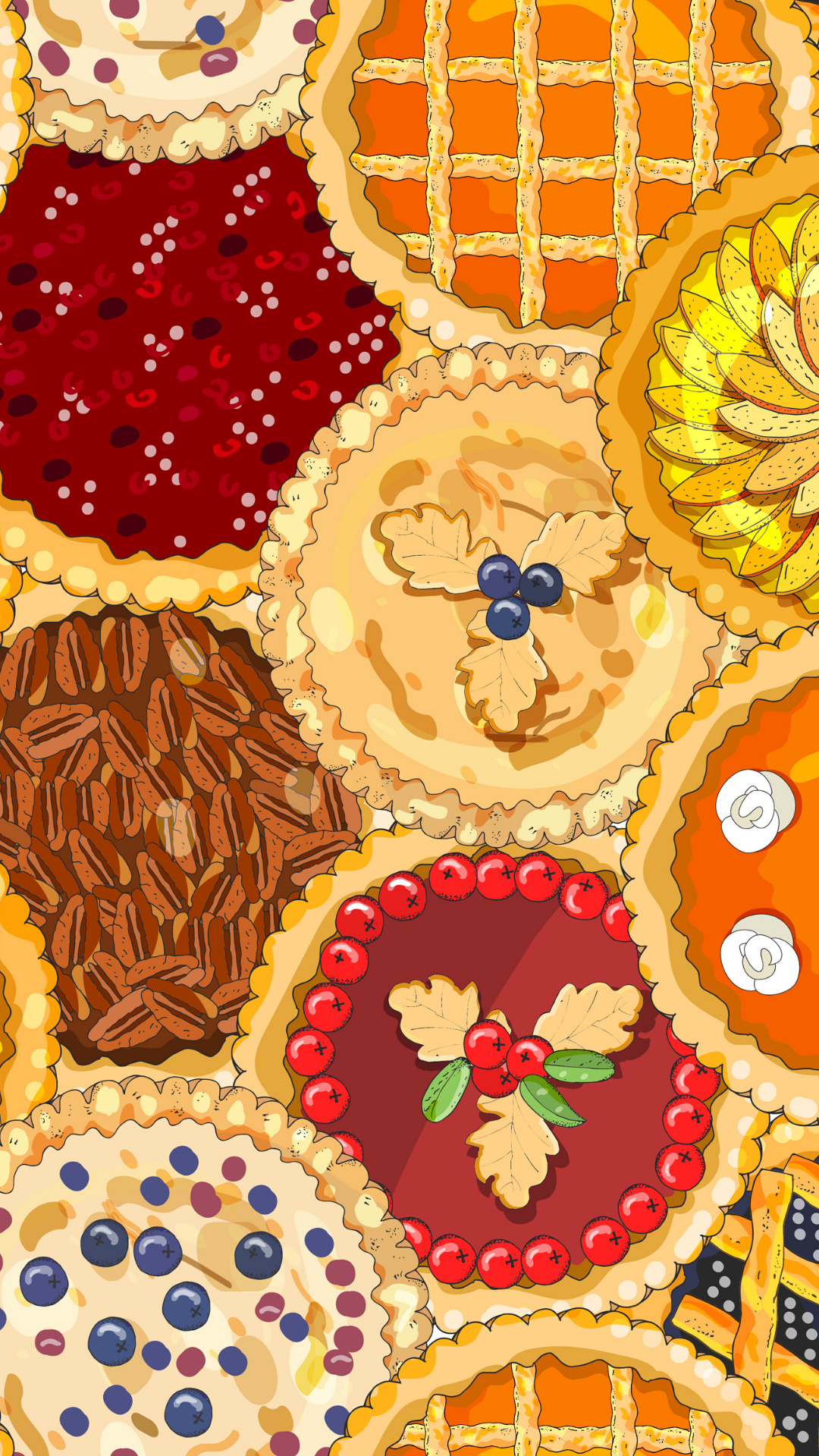 Seamless pattern with pies. The theme of autumn, harvest and thanksgiving. - Vector