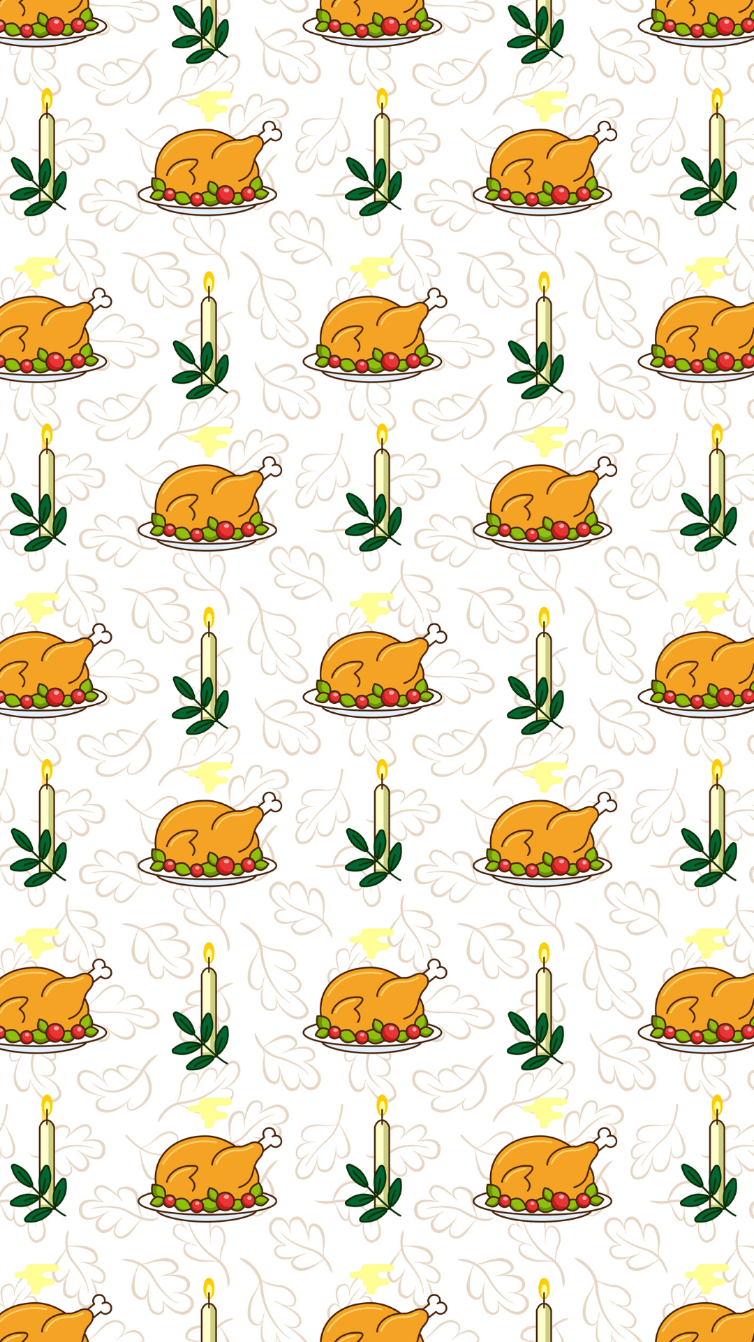 Thanksgiving seamless pattern with roasted turkey for greeting card, gift box, wallpaper, Fabric, web design, on floral background. - Vector
