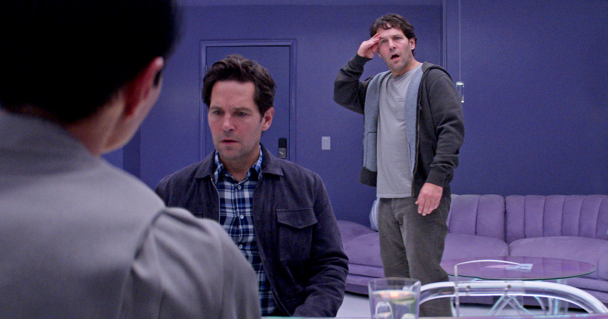 Paul Rudd and Paul Rudd finding out there are two of them in Netflix's 'Living With Yourself'