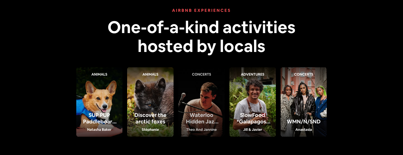 Airbnb Experiences homepage from the Airbnb website