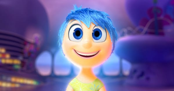 Joy with a big, bright smile across her face in Pixar's 'Inside Out'