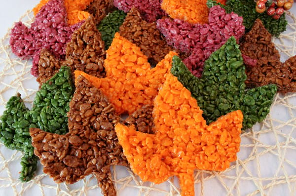 Fall Leaves Rice Krispie Treats recipe from Two Sisters
